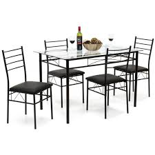 5 piece glass dining table set black u2013 best choice products