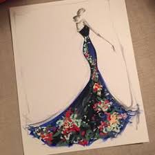sketch of the day petal appliqué tulle gown sketch prints and