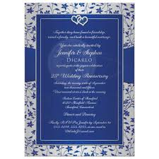 silver and royal blue wedding 25th wedding anniversary invitation royal blue silver floral
