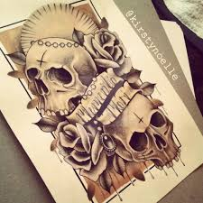 memento mori skull and rose tattoo design by kirstynoelledavies on