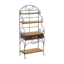 étagère en fer forgé pour cuisine etagère fer forgé et pin avec 1 tiroir en tressage de rotin