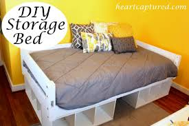 Bed Frame With Storage Plans Bedroom Diy Bed Frame With Drawers Plans Expansive Dark Hardwood
