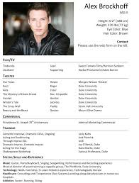 Audition Resume Sample Resume Format For Actors Musician Resume Format Actors Resume