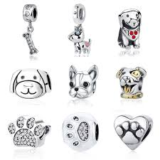 pandora bead charm necklace images 925 sterling silver pet dog bone lucky dog paw cz crystal pendant jpg