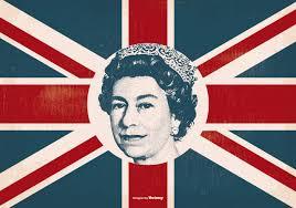 queen elizabeth on britain flag download free vector art stock