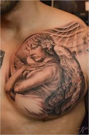 15 angel chest tattoo design ideas for men
