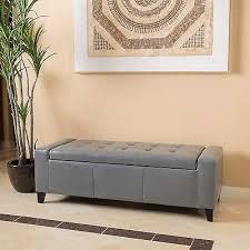grey leather storage ottoman contemporary grey leather storage ottoman bench 108 29 picclick