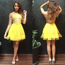 yellow homecoming dresses 2017 sheer long sleeves appliques