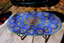 Mosaic Top Patio Table Great Water Mosaic Coffee Table Concerning Plan Glass