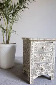 grey bone inlay 3 drawer side table tipi interiors