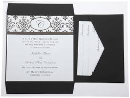 wedding invitations black and white wilton black white scroll monogram pocket invitation