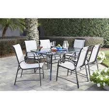 Glass Patio Table Top Cosco Outdoor Living 7 Piece Paloma Steel Grey Patio Dining Set