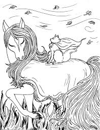 fantasy coloring pages horse and cat fairy tales and mythology