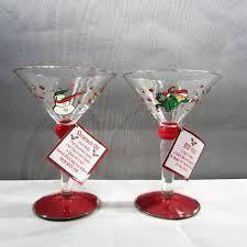 Spode Christmas Tree Martini Glasses Set 4 by Ganz Hand Painted Snowman U0026 Elf Martini Recipe Glasses Shoaza