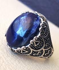 rings natural stones images Sodalite natural stone dark royal blue men ring sterling silver jpg