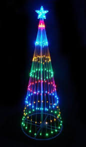 6 multi color led lighted outdoor show cone tree yard