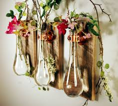 inexpensive kitchen wall decorating ideas amazing homemade glass bottle vase hang on wooden wall as flower