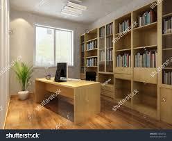 render interior luxury classic study room stock illustration