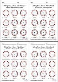 telling time worksheets hours pack 2