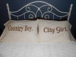country boy and city hand painted pillowcases couples