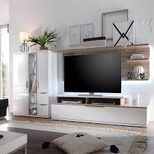 Wohnzimmerschrank In Eiche Wohnwand Salandra Ii 3 Teilig Hochglanz Weiß Eiche Sanremo