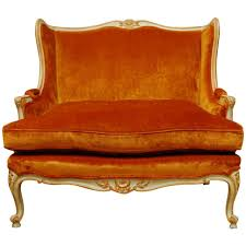 French Armchair Uk French Louis Xv Velvet Wingback Loveseat Settee At 1stdibs