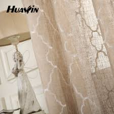 Beige Linen Curtains Linen Fabric For Curtains Embroidery Linen Curtain Ready Made
