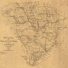 Railroad Map 1880 Railroad Map Of South Carolina Sepia Sc Mr3911s