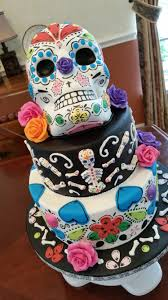 tiered halloween cakes day of the dead cake with fondant and gumpaste decorations cake