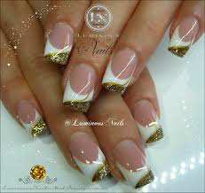 white and gold nail designs