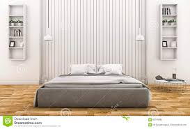 Wooden Wall Bedroom 3d Rendering Modern White Wood Wall Bedroom With Lamp And Shelf