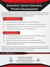 Product Development Manager Job Description Executive Senior Executive Product Development Job Vacancy In