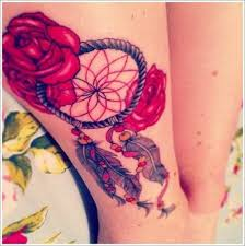 dreamcatcher with red roses thigh tattoo on we heart it
