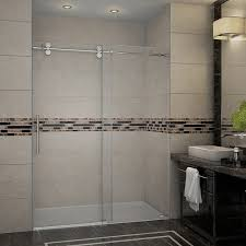 aston langham 60 inch completely frameless alcove sliding shower