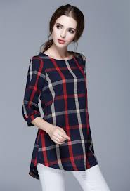 Plus Size Casual Work Clothes Ladies Autumn Red Plaid Linen Tee Shirt Women Casual Office Work