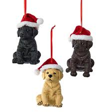 black chocolate yellow labrador retriever with santa hat ornament