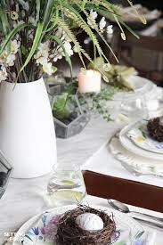 beautiful natural table setting for spring setting for four