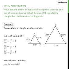 ex 6 4 7 prove that area of an equilateral triangle ex 6 4