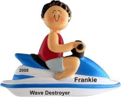 jet ski brown hair personalized ornaments by