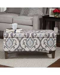 amazing deal on homepop blue slate damask pattern storage ottoman