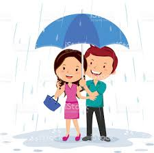 loving young couple with umbrella in the rain stock vector art