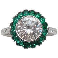 brilliant diamond rings images 2 carat round brilliant diamond with emerald halo platinum jpg