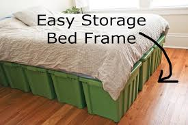 Build Bed Frame With Storage Diy Bed Frame With Storage With Large Green Plastic Storage Bins