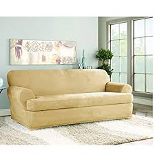 Slipcovers T Cushion Amazon Com Sure Fit Stretch Suede Sofa 2 Piece T Cushion
