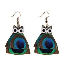 peacock feather earrings owl shaped peacock feather dangle earrings zoo lou bloom