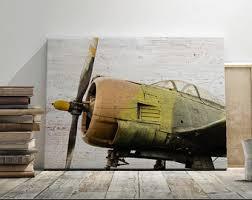 Aviation Home Decor Canvas Antique Biplane 3 Panel Large Wall Art Nursery
