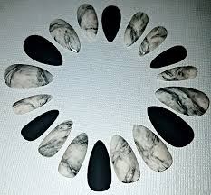 marble stiletto nails press on nails glue on nails acrylic