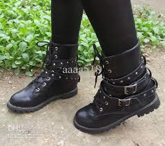 buy womens biker boots new womens motorcycle boots combat flat biker slip on buckle rivets
