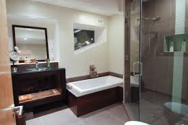 bathroom contemporary bathrooms design with brown floor tiles and