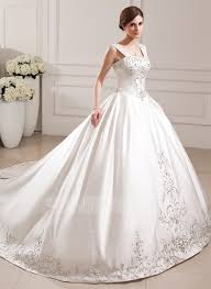 ball gown sweetheart cathedral train satin wedding dress with